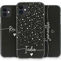 Personalised Initial Phone Case, Name Black TPU Soft Cover For Apple iPhone 11 X