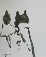 """JOSE TRUJILLO - NEW Black INK WASH on Paper Collectible 14x17"""" Abstract Figures"""