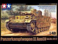 Tamiya 32543 1/48 Model Tank Kit German Panzer Panzerkampfwagen III Ausf.N cap