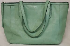 Fossil Sydney Mint Green Soft Leather Holdall, Shopping, Tote Bag - VGC
