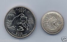 Uncirculated 2008 P or D AK Quarter, magnetically SHRUNK to diameter of a dime!