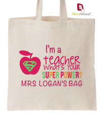 PERSONALISED Thank You Teacher School Gift Cotton Tote Bag- Super Power