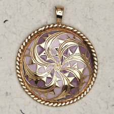 Celtic Spiral Medallion-Bronze/Enamel/Gold/Irish/Medieval/Pendant/Jewelry