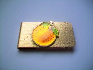 Money Clip-SOLID BRASS- INGA- GOLD TONED- ENAMELED ORANGE FRUIT DESIGN