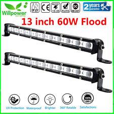 2Pcs 12-13inch 60W Flood Slim LED Work Light Bar Single Row Car SUV ATV Off road