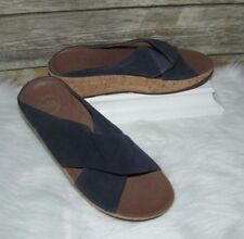 b44109c9e7c07b FitFlop Kys Navy Suede Leather Sz 9 Slip-On Mule Slide Platform Wedge  Sandals