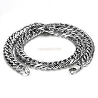 """12mm Heavy Men's Polished Silver Stainless Steel Cuban Link Chain Necklace 24"""""""