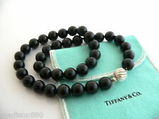 Tiffany & Co Silver Onyx Bead Necklace Pendant Chain Twirl Clasp Excellent