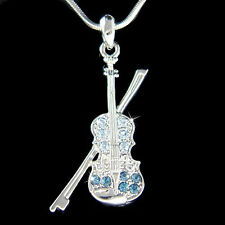 w Swarovski Crystal Blue Fiddle VIOLIN Bow Music Musical Pendant Necklace New