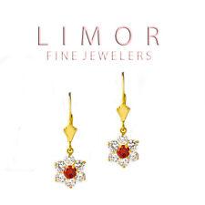 1.30CT Women's Leverback Flower Garnet & White Sapphire Earrings 14K Yellow Gold
