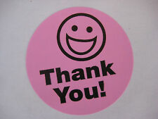 250 BIG THANK YOU SMILEY LABEL STICKERS Pink