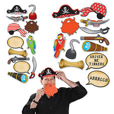 12 PIRATE PHOTO FUN SIGNS PARTY BOOTH PROPS CUTOUTS PARROT MAP HOOK HAT BEARD