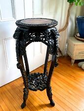 Antique Qing Chinese Heavy Carved Wood Dragon Stand Marble Top