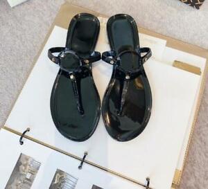 Women PVC Sandals Slippers Mules Flip Flops Metal Summer Shoes Beach Shoes Red