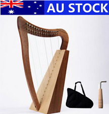 Lever Harp Carved Body 15 Strings with Bag and Tuning Key AU Stock