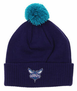 Adidas NBA Youth Charlotte Hornets Cuffed Knit With Pom Hat, Purple
