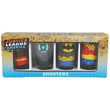 JUSTICE LEAGUE AMERICA 4 PACK SHOT GLASSES BATMAN SUPERMAN WONDER WOMAN SHOOTER