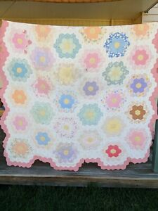 "Vintage Grandmother's Flower Garden Quilt 81""x 98"" Pastel Colors Spring Floral"