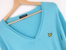 NV190 Lyle & Scott Jersey Suéter Escote en V Azul Original Premium Talla M