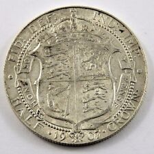 GREAT BRITAIN 1907 HALF CROWN XF CONDITION .4205 oz. EDWARD VII .925 SILVER