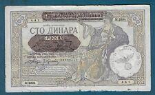 100 Dinara 1941. Yugoslavia Serbia banknotes, Germany Occupation Stamp !