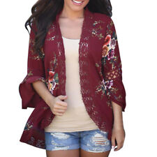 Women Lace Floral Open Cape Casual Coat Loose Blouse Kimono Jacket Cardigan Khaki XL