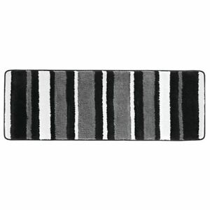 mDesign Striped Microfiber Polyester Rug, Non-Slip Spa Mat/Runner - Black/Gray