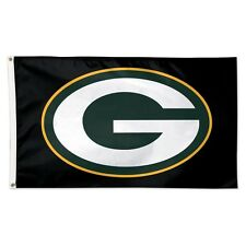 New listing Green Bay Packers Black Back Ground 3'X5' Deluxe Flag Brand New Wincraft