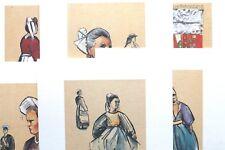 dessin costume art breton tenue bretonne Lot série 6 carte illustrateur couleur