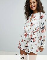 Asos Glamorous Ladies 12 Tall Playsuit Romantic Floral Frill Shorts WORN ONCE