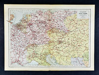 c 1885 Hartleben Map - Central Europe Railroads - Germany France holland Austria
