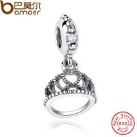 Retro Authentic S925 Sterling Silver Charm Hearts Tiara, Clear CZ Fit Bracelet