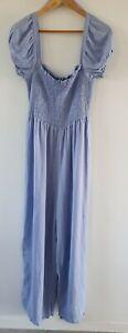 COTTON ON Woven Sasha Shirred Cotton Linen Blend Blue Jumpsuit Sz L BNWT