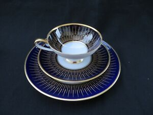 Hutschenreuther Fine China Cobalt Blue & Gold Teacup, Saucer, Plate Set Mint