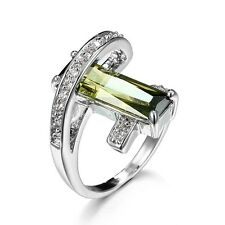 Fashion Women Jewelry White Gold Plated Emerald Statement Ring Engagement Bridal