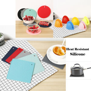 ROUND/SQUARE Heat Resistant Silicone Trivet Mat Pan Pot Holder Non Slip Pad New
