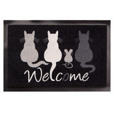 Paillasson Bienvenue CHATS LAVABLE 50x70 cm tapis de sol noir