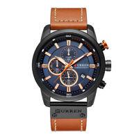 Curren 8291 Luxury Brand Men Leather Calendar Sports Chronograph Quartz Watch