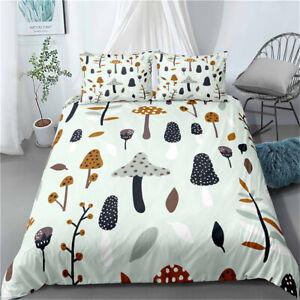 Leaf Mushroom Duvet Quilt Cover Set Pillowcase Single Double King Super King