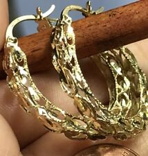 GOLD hoop  earring round Filigree Turkish style 10k yellow 2.8g 25mm