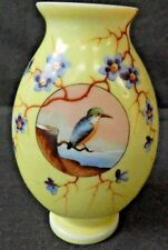 "Vintage Yellow Porcelain Vase with Finch/Floral Design ~ Beautiful ~ 8"" Tall"