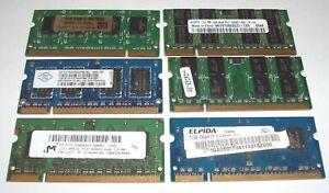 JOB LOT OF SIX DDR2 LAPTOP MEMORY MODULES - 3 x 2GB PC2-5300S, 3 x 1GB PC2-6400S
