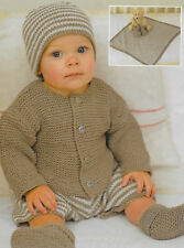 Baby outfit (jacket, pants, blanket, hat, bootees) knitting pattern DK 199