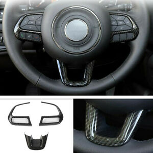 Fit For 2017-2021 Jeep Compass Carbon Fiber Steering Wheel Frame Cover Trim 3PCS