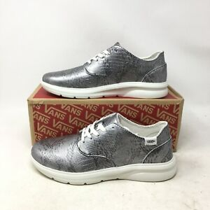 NEW Vans Iso 2 Disco Python Low Casual Sneakers Leather Silver Mens 6.5 Womens 8
