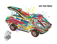 Hot Wheels 1971 Tow Truck Heavyweights Car Racing Print Poster Wall Art 8.5x11