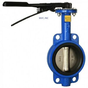 """6"""" 200 WOG Wafer Butterfly Valve Ductile Iron Body Bronze Disc Buna-N Seal Lever"""