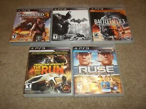 Lot Of 5 (Five) PS3 Games- Batman, Ruse, Need For Speed, Etc. Playstation