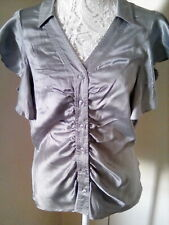 Pure Silk Silver Short Sleeve Trinny and Susannah Blouse. Sz12.