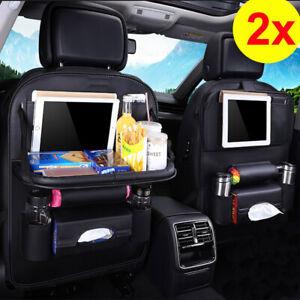 2pcs Universal Black Car Seat Back Storage PU Bag Folding Tray Organizer Holder